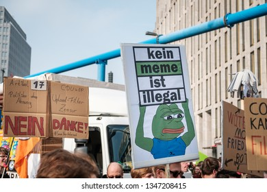Berlin, Germany - march 23, 2019: Demonstration against EU copyright reform  / article 11 and article 13  in Berlin Germany.