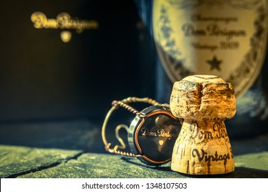 BERLIN, GERMANY - March 23, 2019: Close up of Dom Perignon champagne cork. Blurred background.