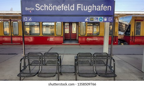 Berlin, Germany - March 23, 2019: Berlin Schonefeld Airport Trainstation S Bahn. Tourists taking the train that connects the airport to the city centre