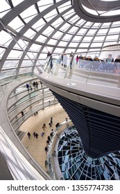 BERLIN, GERMANY - MARCH 24, 2016: Tourists visiting Reichstag Dome. This dome was designed by architect Norman Foster.