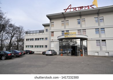 BERLIN,  / GERMANY - MARCH 26 2010: Entrance with Welcome sign to FKK Artemis Sauna Club and Wellness Club on Hallenstrasse in Charlottenburg, Berlin.