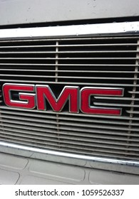 Berlin, Germany - March 28, 2018: GMC logo. The GMC Division of General Motors is a division of the American automobile manufacturer General Motors primarily focusing on trucks and utility vehicles