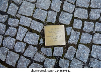 Berlin, Germany - March 28 2018: Stolperstein (Stumbling Block) in Berlin, memorials on the pavements to victims of Nazi oppression.