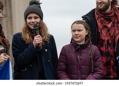 Berlin  Germany - March 29th 2019: Greta Thunberg speaking at a Fridays for Future demonstration in Berlin.