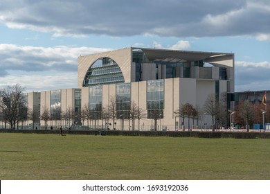 Berlin, Germany - March 31, 2020: The Federal Chancellery (German: Bundeskanzleramt), the official seat and residence of the Chancellor of Germany and their executive office, the German Chancellery