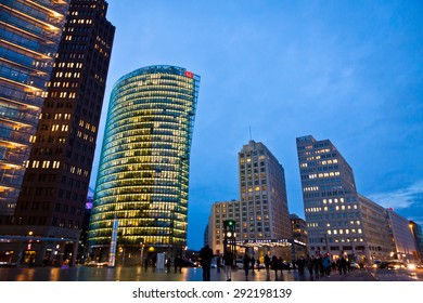 BERLIN, GERMANY - MARCH 4, 2015: Evening view of Potsdamer Platz. The new modern city center and financial district of Berlin