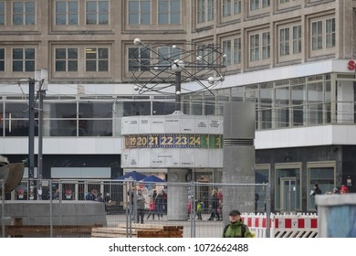 Berlin, Germany - March 9 2017: Alexanderplatz Berlin Weltzeituhr or World Clock - tourist attraction erected in East Berlin by the Soviets in 1969.
