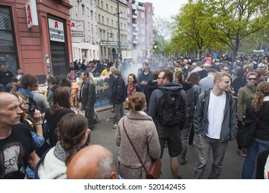BERLIN, GERMANY - MAY 01, 2013: People celebrating traditional labor day at the first of May in Kreuzberg