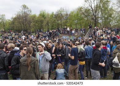 BERLIN, GERMANY - MAY 01, 2013: Crowd of young people celebrating labor day at the first of May at Gorlitzer Park in Kreuzberg