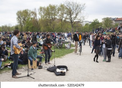 BERLIN, GERMANY - MAY 01, 2013: Young people celebrating labor day at the first of May at Gorlitzer Park in Kreuzberg