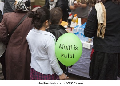 BERLIN, GERMANY - MAY 01, 2013: Turkish people celebrating traditional labor day at the first of May in Kreuzberg