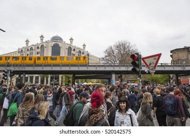 BERLIN, GERMANY - MAY 01, 2013: Young people celebrating labor day meeting at the first of May in Kreuzberg Berlin