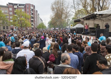 BERLIN, GERMANY - MAY 01, 2013: Turkish people celebrating labor day at the first of May in Kreuzberg