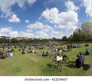 Berlin, Germany - may 01, 2015: People gathering at Goerlitzer Park in Berlin, Kreuzberg on labor day / may day on the 1.may.