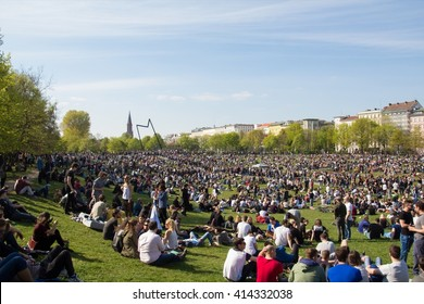 Berlin, Germany - may 01, 2016: Crowded park (Goerlitzer Park) in Berlin, Kreuzberg during may day / labor day on the first of may.
