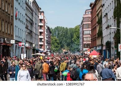 Berlin, Germany - May 01, 2019: People on street at myfest celebration on mayday , 1. mai, Berlin, Kreuzberg