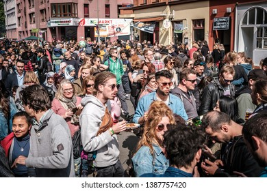 Berlin, Germany - May 01, 2019:Many people on crowded street celebrating labor day in Berlin, Kreuzebreg