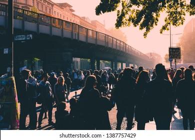 Berlin, Germany - May 01, 2019:Many people on crowded street celebrating labor day in Berlin, Kreuzeberg