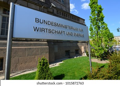 Berlin / Germany - May 07, 2016: Sign at the entrance to the Federal Ministry for Economic Affairs and Energy in Berlin, Invalidenstrasse