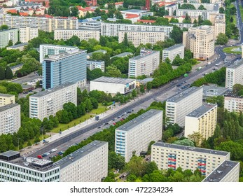 BERLIN, GERMANY - MAY 08, 2014: Aerial bird eye view of the city of Berlin Germany (HDR)