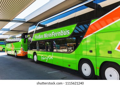 Berlin, Germany - May 08, 2018: busses from Flixbus line at a bus station in Berlin. Flixbus is an expanding intercity bus service in Europe and US, controlling about 71 percent of the German market