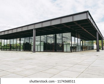 BERLIN, GERMANY - MAY 09, 2014: The Neue Nationalgalerie art gallery is a masterpiece of modern architecture designed by Mies Van Der Rohe in 1968 as part of the Kulturforum