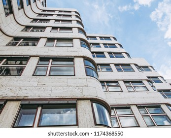 BERLIN, GERMANY - MAY 09, 2014: The Shell Haus aka Gasag building is a classical modernist architectural masterpiece designed by Emil Fahrenkamp in 1932