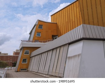 BERLIN, GERMANY - MAY 09, 2014: The Berliner Philharmonie concert hall designed by German architect Hans Scharoun in 1961 is a masterpiece of modern architecture