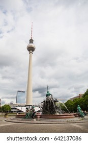 BERLIN, GERMANY - MAY 09, 2014: Fountain of Neptune near the TV tower. Travel through Europe.