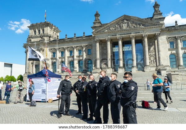 BERLIN, GERMANY May 09, 2020. Berlin Demonstration against Covid 19 with Police.