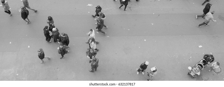 Berlin, Germany, May 1, 2017: People on the street at the labor day festivities - black and white
