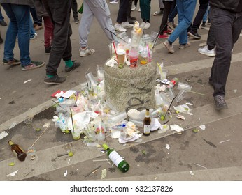 Berlin, Germany, May 1, 2017: Plastic waste and food residues of the labor day festivities