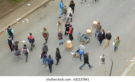 Berlin, Germany, May 1, 2017: People on the street at the labor day festivities