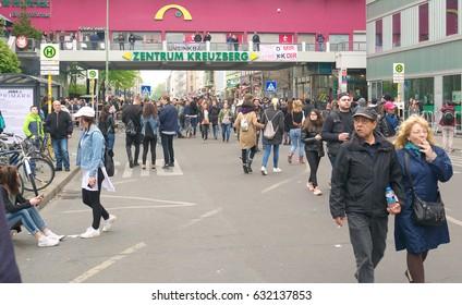 Berlin, Germany, May 1, 2017: Street scene at Kottbusser Tor during labor day festivities