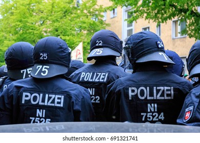 BERLIN, GERMANY - MAY 1, 2017: Riot police from the state of Lower Saxony deployed on May Day in Berlin, Germany on May 1, 2017.
