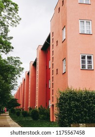 BERLIN, GERMANY - MAY 11, 2014: The Hufeisensiedlung (meaning Horseshoe housing estate) aka Grosssiedlung Britz designed by Bruno Taut and Martin Wagner in 1925 is a masterpiece of early modernism