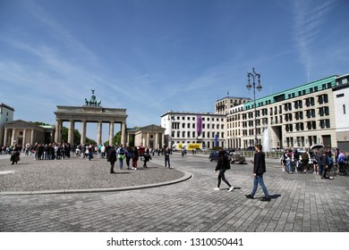 Berlin, Germany - May 11, 2017; Pariser Platz with the Brandenburg Gate in Berlin, Germany