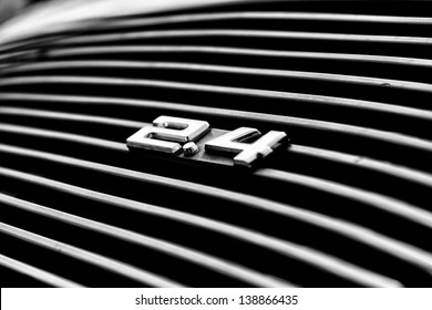 """BERLIN, GERMANY - MAY 11: Air vents the engine compartment Porsche 911 Targa 2,4 T close-up, (Black and White), """"26. Oldtimer-Tage Berlin-Brandenburg"""", May 11, 2013 Berlin, Germany"""