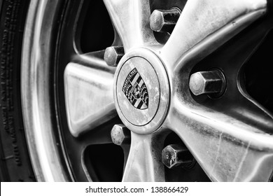 """BERLIN, GERMANY - MAY 11: Detail of the wheel Porsche 911 Targa 2,4 T close-up, (Black and White), """"26. Oldtimer-Tage Berlin-Brandenburg"""", May 11, 2013 Berlin, Germany"""