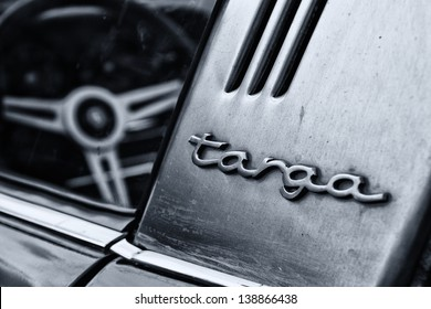 """BERLIN, GERMANY - MAY 11: Detail of the Porsche 911 Targa 2,4 T close-up, (Black and White), """"26. Oldtimer-Tage Berlin-Brandenburg"""", May 11, 2013 Berlin, Germany"""