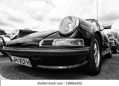 """BERLIN, GERMANY - MAY 11: The Porsche 911 Targa 2,4 T, front view (Black and White), """"26. Oldtimer-Tage Berlin-Brandenburg"""", May 11, 2013 Berlin, Germany"""