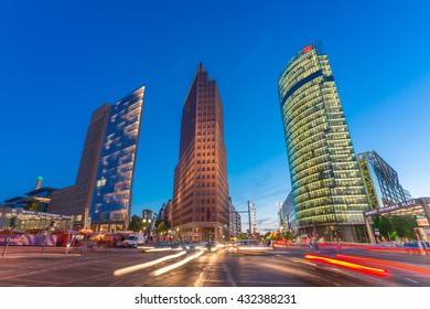 Berlin, Germany - May 13, 2016.; The Potsdamer Platz is one of the most important places of Berlin. It is located in the Mitte district and is an attraction for tourists from around the world.
