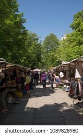 BERLIN, GERMANY - MAY 13, 2018: the flea market at Arkonaplatz, in the Prenzlauer Berg district of Berlin.