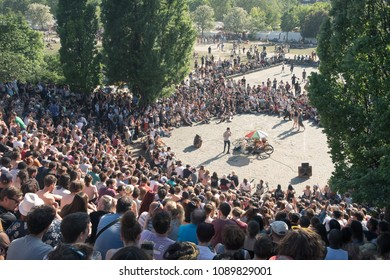 BERLIN, GERMANY - MAY 13, 2018: a large crowd watches open-air karaoke in the Mauerpark, in the Berlin district of Prenzlauer Berg.