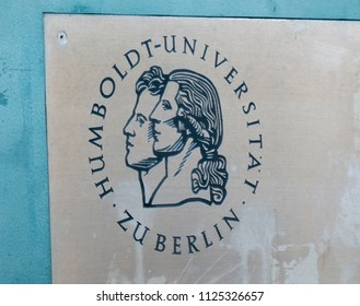 Berlin, Germany - May 14, 2018: Sign of the Humboldt University of Berlin (German: Humboldt-Universität zu Berlin, abbreviated HU Berlin), university in the central borough of Mitte