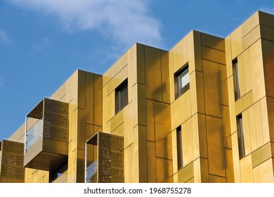 Berlin, Germany – May 14 2019: European modern residential architecture. Exterior of modern apartment building