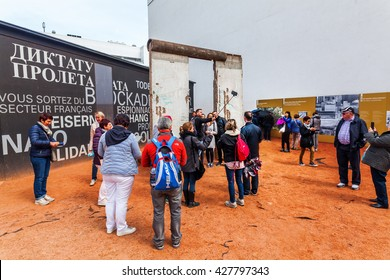 Berlin, Germany - May 15, 2016: exhibition called black box with unidentified people. It informes about the time of the cold war and the division of Germany and Berlin.