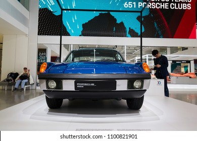 BERLIN, GERMANY - MAY 15 2018: Porsche 914 6 sports car standing at Volkswagen Group forum Drive on May 15, 2018 in Berlin, Germany.