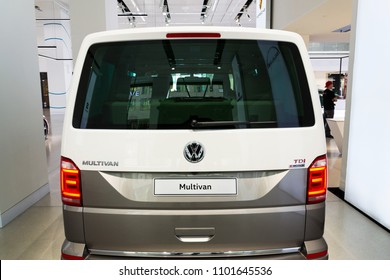 BERLIN, GERMANY - MAY 15 2018: Volkswagen Multivan TDI 4motion car at Volkswagen Group forum Drive on May 15, 2018 in Berlin, Germany.