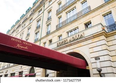 BERLIN, GERMANY - MAY 15 2018: Hotel Adlon Kempinski logo on hotel building near Brandenburg gate on May 15, 2018 in Berlin, Germany.
